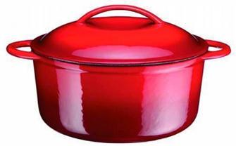 Gusseiserner Schmortopf rund, 25cm, 4,3 Liter, rot