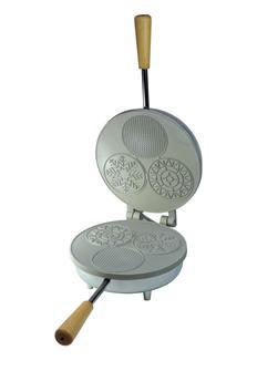 Elektrisches Waffeleisen mit drei Formen für dünne knusprige Waffeln im Miniformat