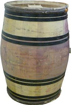 Gebrauchtes Eichenholzfass mit Umreifung aus Kastanienholz, 225 Liter