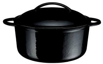 Gusseiserner Schmortopf rund, 27cm, 5,9 Liter, schwarz