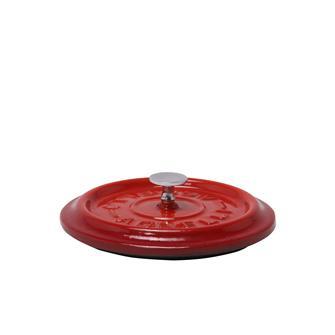 Runder Deckel, Gusseisen, rot