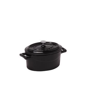 Gusseiserner Mini-Schmortopf oval, brillantschwarz