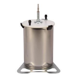 Obstmühle aus Edelstahl, 20 Liter, mit Aufsatz für die Bohrmaschine.
