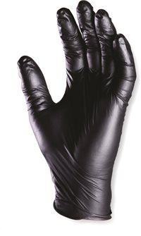 Gants jetables avec grip par 10 usage unique taille 8 M en nitrile noir