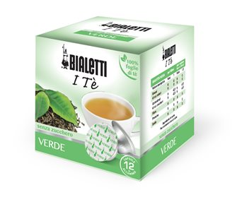 Box mit 12 Kapseln Bialetti Grüner Tee.