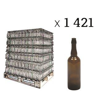 Palette mit 1421 gefärbten Flaschen für Bier