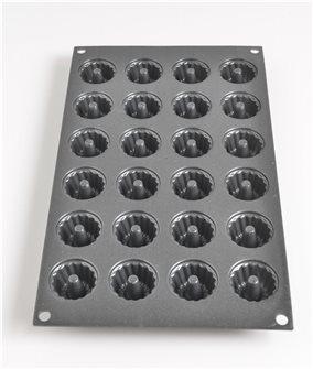 Moule 24 bouchées mini kouglofs silicone noir avec particules de métal