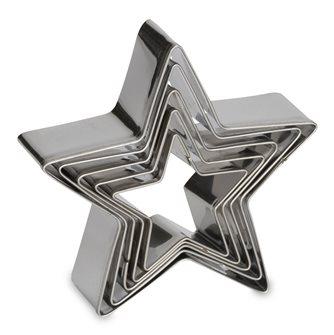 5er-Pack Ausstecher Sternform aus Edelstahl