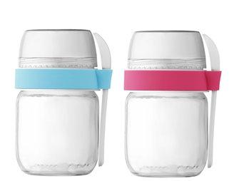 2 To-Go Joghurtbecher mit 2 Unterteilungen für Joghurtbereiter Rosa und Himmelblau