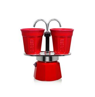 Espressobrunnen für zwei Tassen rot