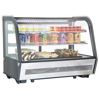 Vitrine réfrigérée 160 litres avec éclairage led à poser sur table ou comptoir noire