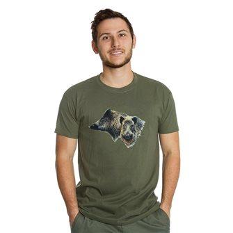 Tee shirt homme Bartavel Nature kaki sérigraphie 2 têtes de sanglier L
