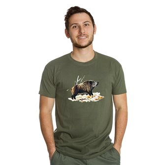 Tee shirt homme Bartavel Nature kaki sérigraphie sanglier sur lit de feuille XL