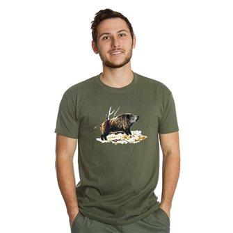 Tee shirt homme Bartavel Nature kaki sérigraphie sanglier sur lit de feuille XXL