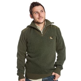 Pull col camionneur homme Bartavel P62 kaki L broderie canard