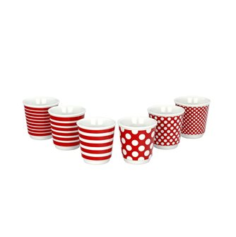 Lot de 6 tasses à café expresso Pop rouges