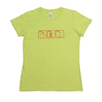 Damen T-Shirt M Apple Press Cider Tom Press grün mit rotem Aufdruck