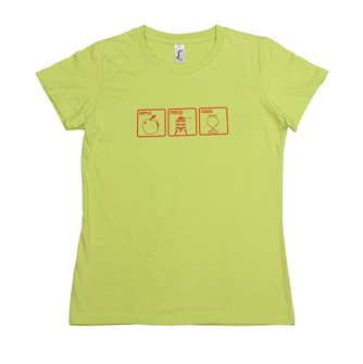 Damen T-Shirt S Apple Press Cider Tom Press grün mit rotem Aufdruck