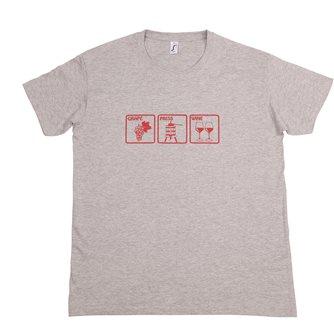 T-Shirt M Grape Press Wine Tom Press graumeliert mit bordeauxrotem Aufdruck