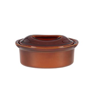 Terrine ovale 23 cm exclusivité Emile Henry 1,1 litre céramique marron Cannelle