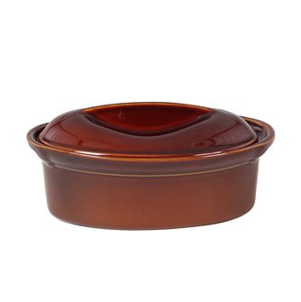 Terrine ovale 27 cm exclusivité Emile Henry 1,6 litre céramique marron Cannelle