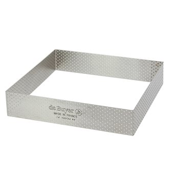 Cercle à tarte carré 20x20 cm perforé en inox avec bords droits de 3,5 cm