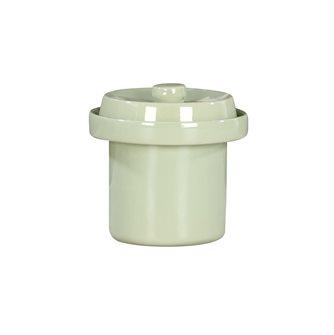 Pot à choucroute / lactofermentation 1 litre en grès émaillé couleur vert d´eau